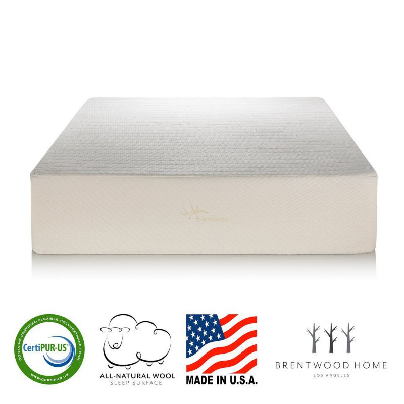 Brentwood Home 13-Inch Gel HD Memory Foam Mattress, Made in USA, CertiPUR-US, 25 Year Warranty, Natural Wool Sleep Surface and Bamboo Cover, Full