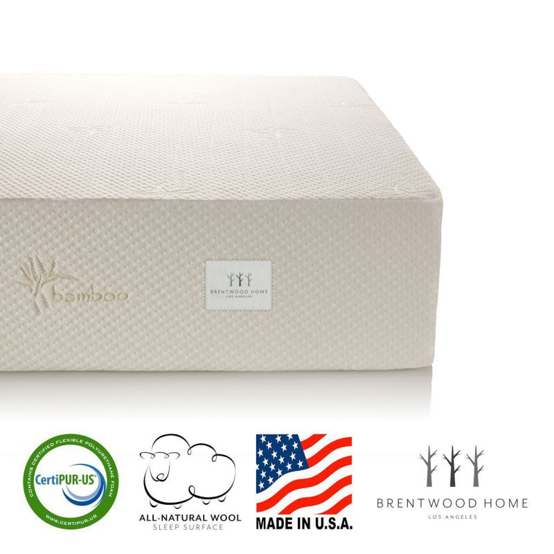 Brentwood Home 13-Inch Gel HD Memory Foam Mattress, Made in USA, CertiPUR-US, 25 Year Warranty, Natural Wool Sleep Surface and Bamboo Cover, King