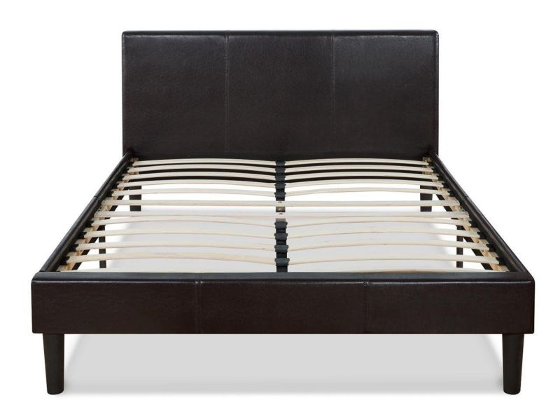 Faux Leather Upholstered Platform Bed with Wooden Slats, Queen