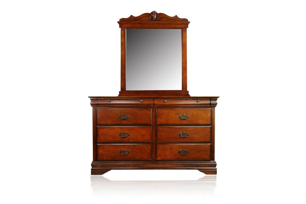 Furniture of America Laurelle 2-Piece Dresser and Mirror Set, Dark Oak Finish