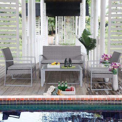 GHP 4-Piece Gray Polyfiber PE Patio Furniture Set w 300lbs Weight Capacity