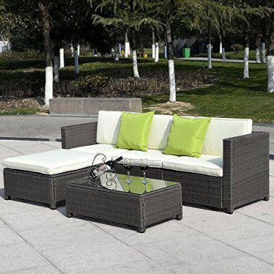 GHP Set of 5pcs Gradient Brown PE Strong Steel Frame Patio Outdoor Rattan Wicker, Model: , Home/Garden & Outdoor Store