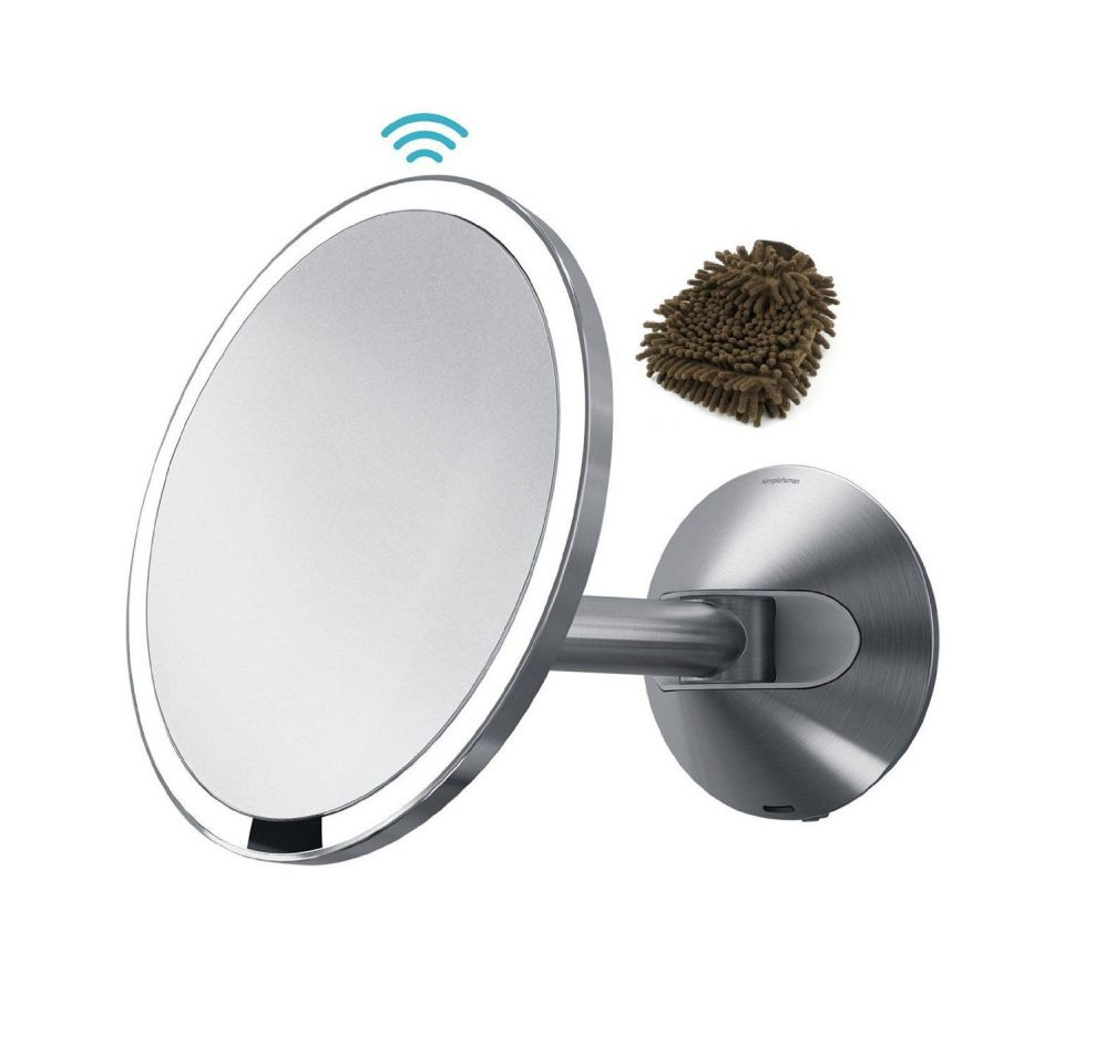 Simplehuman Mirror Wall Mount, Stainless Steel - Sensor-activated Lighted Vanity, 5x Magnification, 8 Inches (Complete Set) w/ Bonus: Premium Microfiber Cleaner Bundle