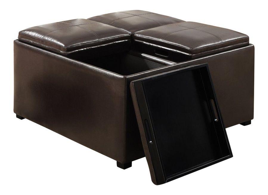 Simpli Home Avalon Coffee Table Storage Ottoman w/ 4 Serving Trays, PU Leather, Brown