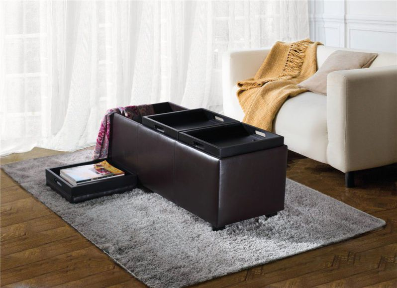 Simpli Home Avalon Faux Leather Rectangular Storage Ottoman with 3 Serving Trays, Large, Brown