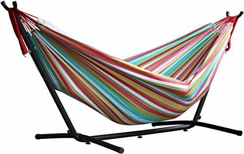 Vivere Double Hammock with Space Saving Steel Stand, Salsa by Vivere