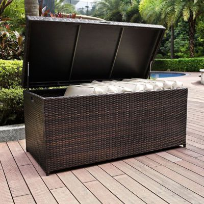 Crosley Palm Harbor Outdoor Wicker Storage Bin, Brown