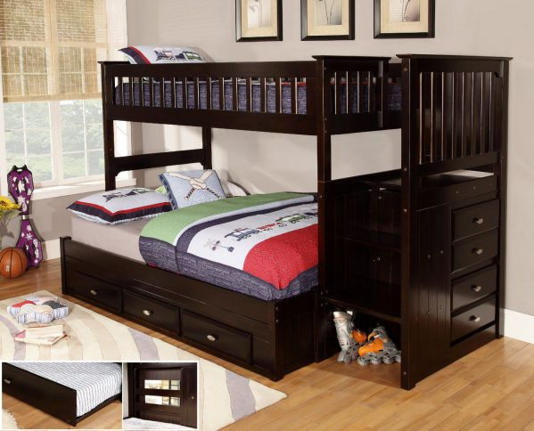 Discovery World Furniture Twin over Full Staircase Bunk Bed with 3 Drawer Storage, Espresso