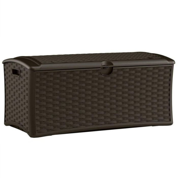 Resin Wicker Deck Box 72 Gal., Constructed with Weather-resistant Polypropylene Plastic Resin in Wicker Finish