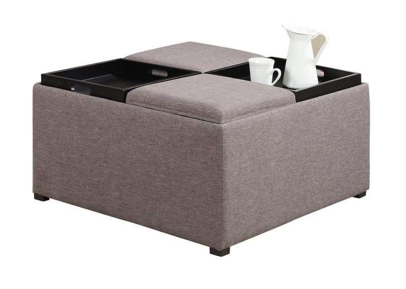 Simpli Home Avalon Coffee Table Storage Ottoman with 4 Serving Trays, Fawn Brown
