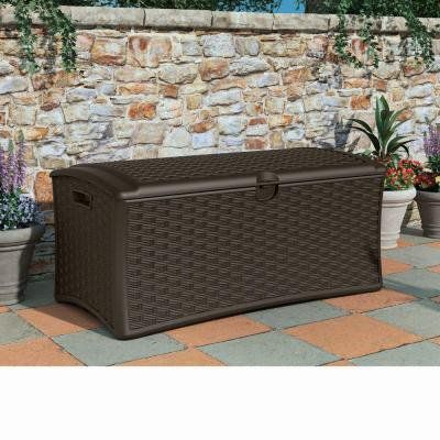 Suncast DBW7000 Resin Wicker Deck Box, 72 gallon