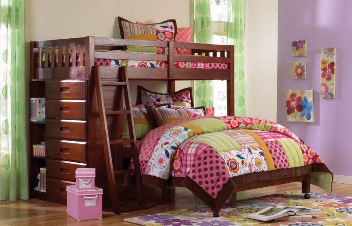 Twin Over Full Loft Bed in Merlot Finish