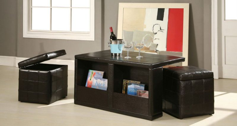 William's Home Furnishing Coffee Table with Storage Stools