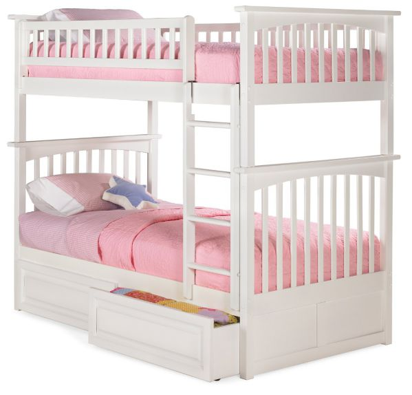 Columbia Bunk Bed with 2 Raised Panel Bed Drawers, Twin Over Twin, White