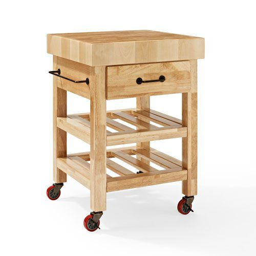 Crosley Marston Butcher Block Kitchen Cart, Natural