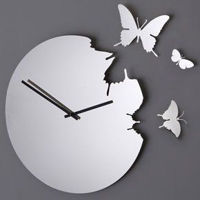 Diamantini & Domeniconi Butterfly Clock - Stainless Steel