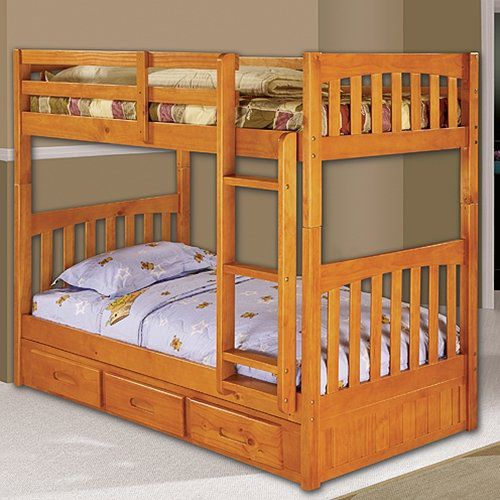 Discovery World Furniture Honey Bunk Bed Twin/Twin Mission with 3 Drawers on Each Side