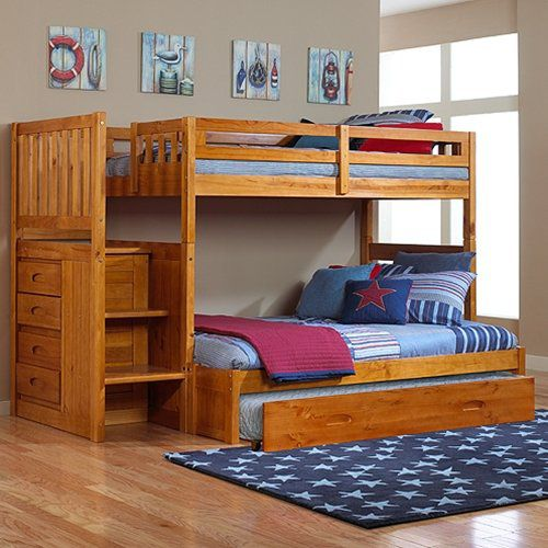 Discovery World Furniture - Honey Mission Staircase Bunk Bed Twin/full with Roll Out Trundle Bed, 6 Drawer Dresser, Mirror, and Nightstand