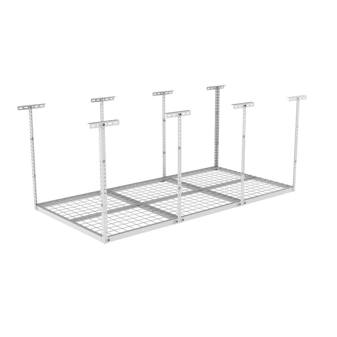 "Fleximounts 72"" Length x 36"" Width x 40"" Height Adjustable Ceiling Storage Rack 3x6 Overhead Garage white"