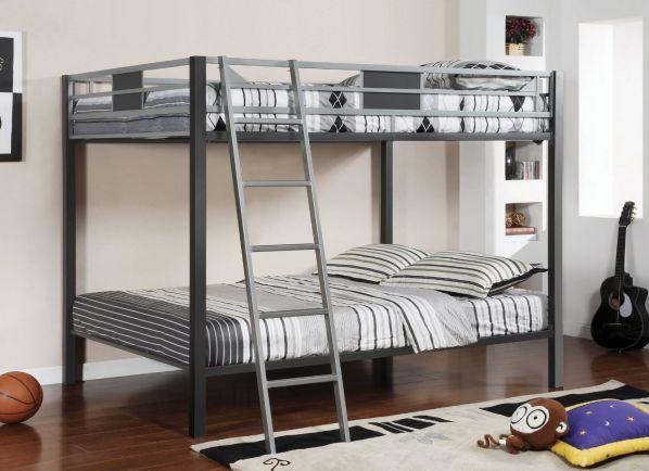 Furniture of America Metrolis Full-Over-Full Bunk Bed, Silver and Gun Metal Finish