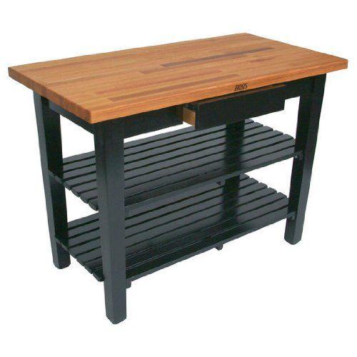 John Boos OC3625-2S-BK Oak Table Boos Butcher Block, 36 in. W x 25 in. D x 35 in. H, with 2 Shelves, Black