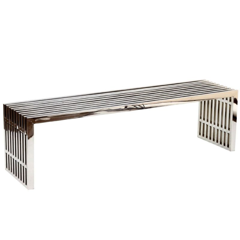 LexMod Large Gridiron Stainless Steel Bench