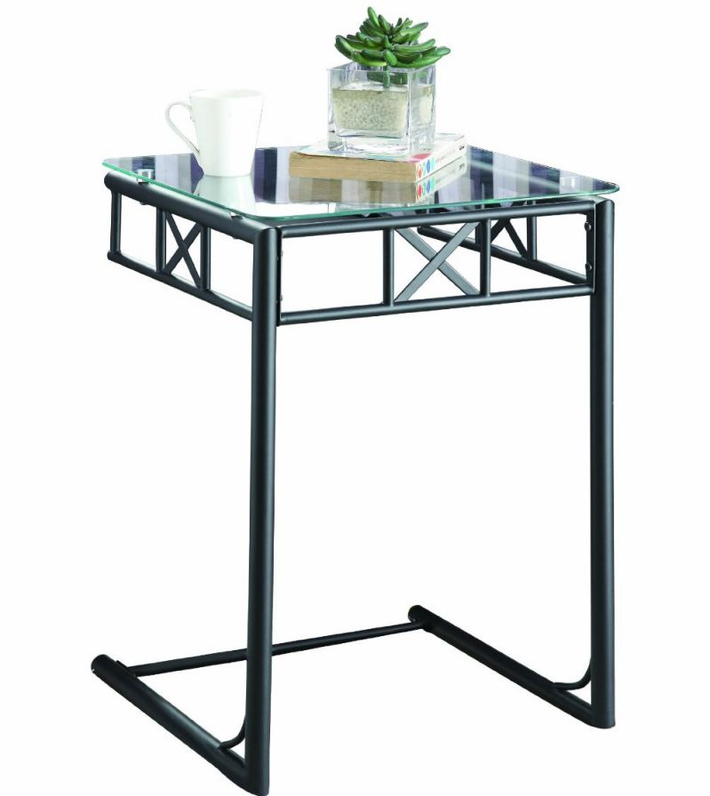 Monarch Metal Snack Table with a Tempered Glass Top, Black