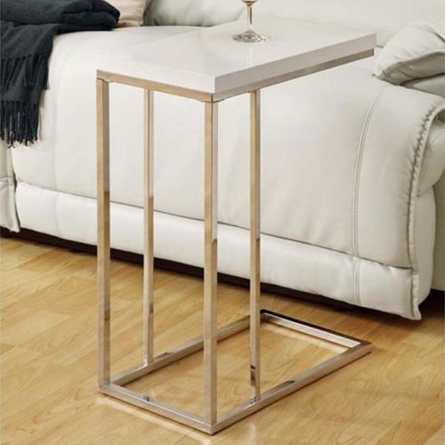 Monarch Specialties Chrome Metal and White Accent Side Table