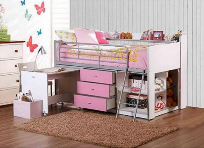 Elegant And Modern White Bunk Beds With Storage