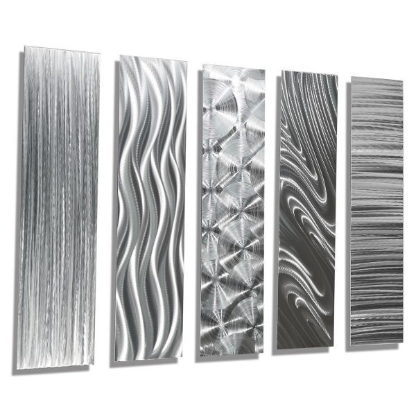 Silver Rectangular Metal Wall Art Accent - Multi Panel Etched Modern Contemporary Wall Art Decor - 5 Easy Pieces By Jon Allen