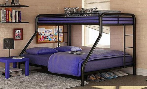 Sturdy Kids Sturdy Twin Over Full Metal Bunk Bed with Stairs. This Durable Steel Frame Bunk Bed For Kids includes full-length guardrails, and the bunk bed does not need a box spring.