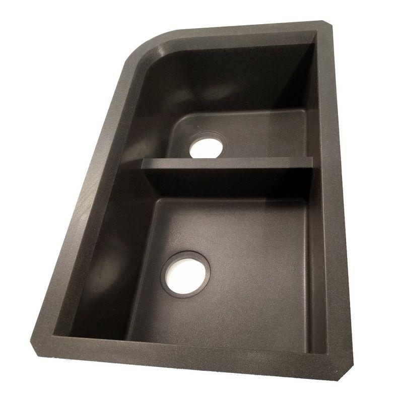 Swanstone QULD-3322.077, Granite Undermount Double Bowl Kitchen Sink, 32-Inch x 21-Inch, (Nero Finish)