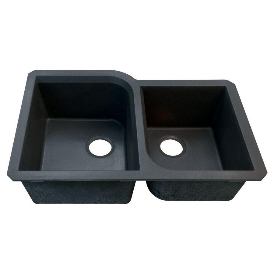 Transolid RUDO3120-09 Radius 31-in L x 20-in W Granite Double Offset Undermount Kitchen Sink, Black