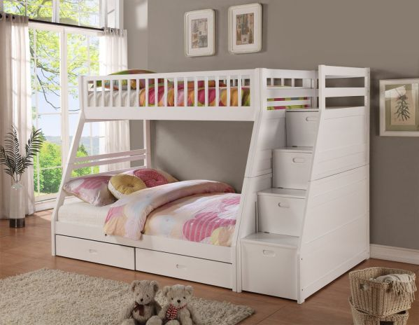 Twin/full Storage Step Bunk Bed, 2 Drawers, (White)