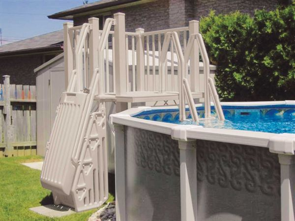 Vinyl Works Above Ground Swimming Pool Resin Deck Kit - Taupe 5 x 5 Feet