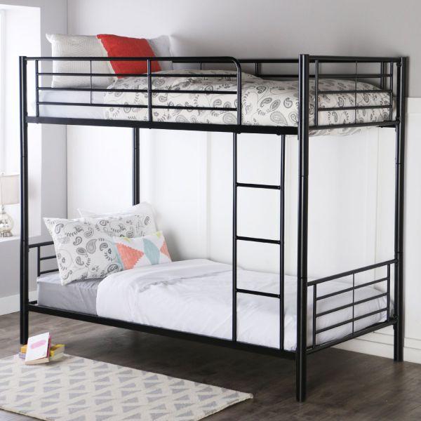 Walker Edison Twin-Over-Twin Bunk Bed, Black