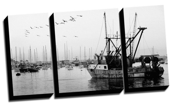20x38 Three Panel Photograph of a Fishing Boat Black and White Stretched Canvas