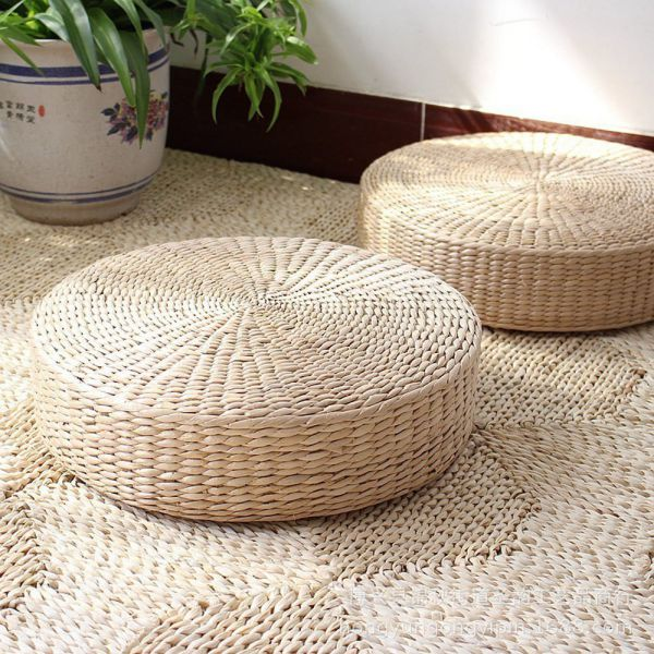 3 BEES Japanese Style Handcrafted Eco-friendly Breathable Padded Knitted Straw Flat Seat Cushion,Hand Woven Tatami Floor Cushion Corn Maize Husk (M)