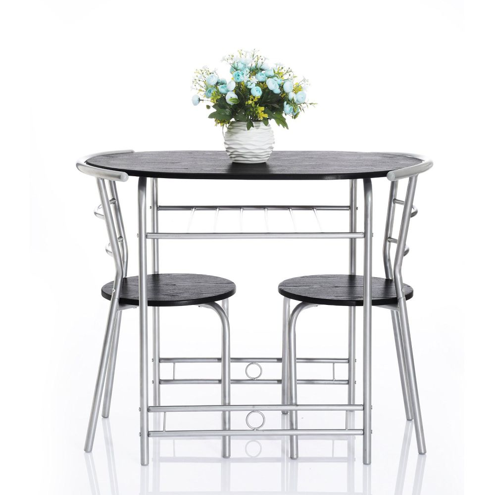 3-Piece Kitchen Dining Room Breakfast Table Set with 2 Chairs,Silver/Black