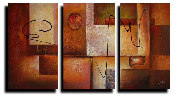 Amoy Art- Abstract Canvas Wall Art Paintings on Canvas for Wall Decoration Modern Painting Wall Decor Stretched and Framed Ready to Hang 3 Piece Canvas Wall Art (12x16inx3pcs)
