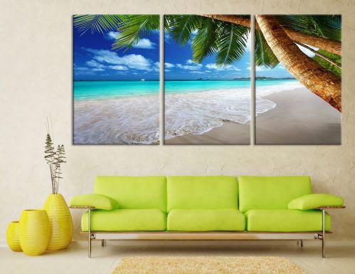 Beach Wall Art - Tropical Island Beach Canvas Print, Beach Wall Art Canvas Print, Tropical Beach, Tropical Island Wall Art Canvas - 20x30 Inch Each Panel- 60x30 Inch Total