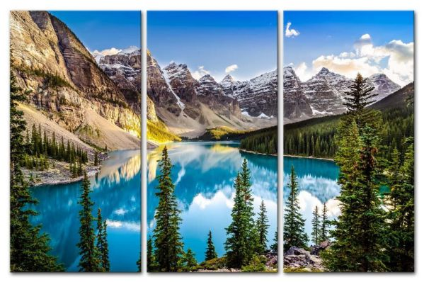 3 Pieces Modern Canvas Painting Wall Art The Picture For Home Decoration Beautiful Sunset View Of Morain Lake And Mountain Range Alberta Canada Landscape Mountain&Lake Print On Canvas Giclee Artwork For Wall Decor