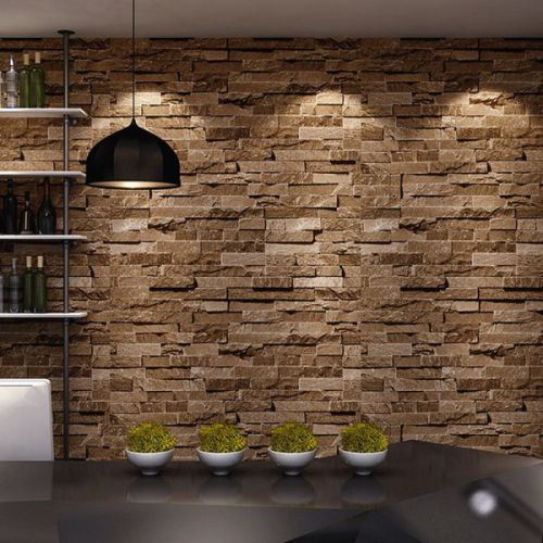 Birwall Cultural Faux Brick Stone Wallpaper 3d Kitchen Living Home Decoration,44,sand Yellow
