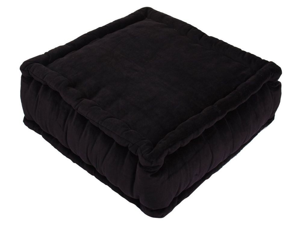 Black Cotton Floor Cushion Pad Stuffed with Hand Woven Velvet