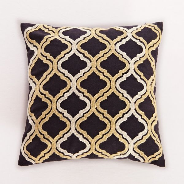 Black & Gold Embroidered Quatrefoil Moroccan-inspired Decorative Cushion Throw Pillow 18x18 Inch with Zipper, Fills Included, by Calla Angel