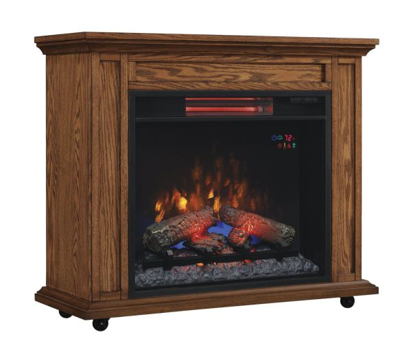 ClassicFlame 23IRM1500-O107 Rolling Mantel with Infrared Quartz Fireplace, Premium Oak