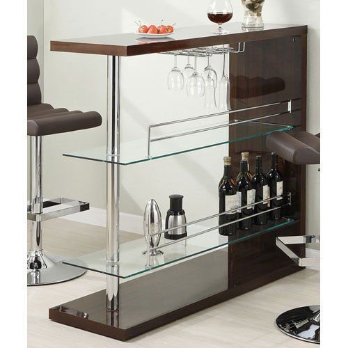 Coaster Bar Table with Two Glass Shelves in Gloss Cappuccino Finish