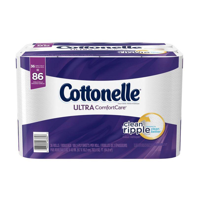 Cottonelle Ultra ComfortCare Family Roll Toilet Paper, Bath Tissue, 36 Rolls