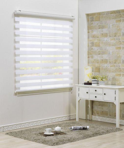 Custom Cut to Size , [Winsharp Combi Bella] Roller Zebra Fabric Shade Horizontal Window Blinds & Treatments , White , W 39 x H 47 (Inch) , 92 Inch Wide by 72 Inch Long