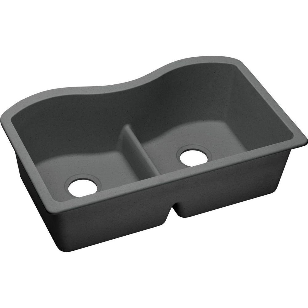 Elkay ELGULB3322GY0 Granite 33-Inch X 20.1-Inch X 9.5-Inch Double Bowl Undermount Kitchen Sink, Dusk Gray